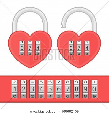 Heart code lock. Open and closed red shiny heart locks shape with combination locks. Love, amour concept. Vector illustration in modern flat style.