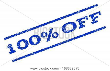 100 Percent Off watermark stamp. Text caption between parallel lines with grunge design style. Rotated rubber seal stamp with dust texture. Vector blue ink imprint on a white background.