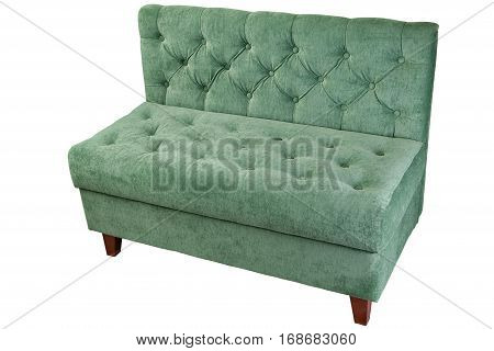Two seater fabric sofa with green color isolated on white clipping path saved.