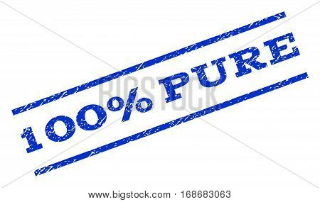 100 Percent Pure watermark stamp. Text caption between parallel lines with grunge design style. Rotated rubber seal stamp with dust texture. Vector blue ink imprint on a white background.
