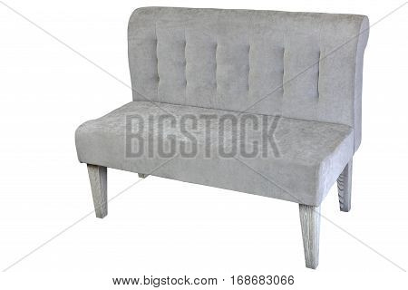 Double sofa upholstered in gray cloth isolated on white clipping path saved.
