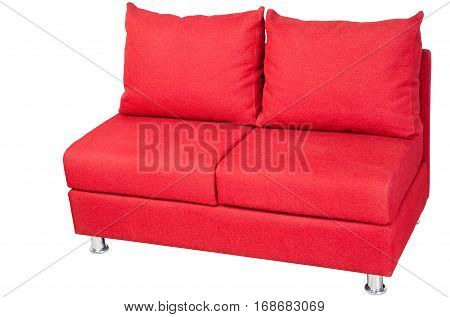 Two seater couch upholstered in red fabric isolated on white clipping path saved.