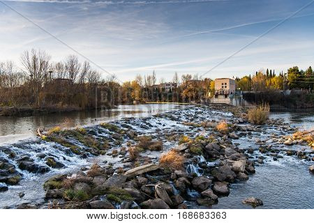 Watefall on Ebro river in Logrono, La rioja region
