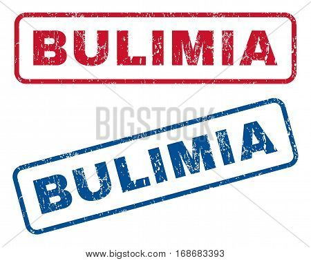 Bulimia text rubber seal stamp watermarks. Vector style is blue and red ink tag inside rounded rectangular banner. Grunge design and unclean texture. Blue and red signs.