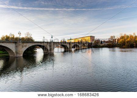 Beautiful bridge over the Ebro River in Logrono , La rioja Region from Spain