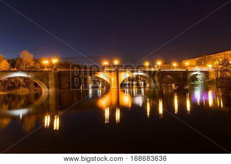 Bridge over Ebro river in night , in logrono , La rioja