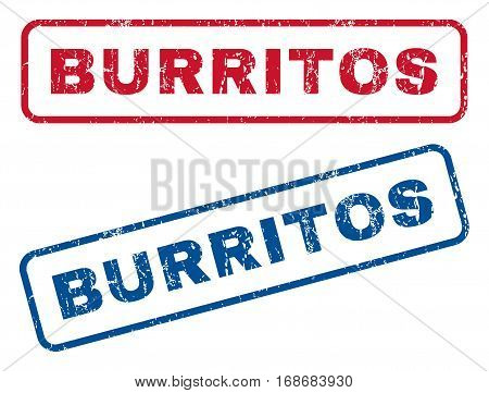 Burritos text rubber seal stamp watermarks. Vector style is blue and red ink caption inside rounded rectangular shape. Grunge design and dust texture. Blue and red signs.