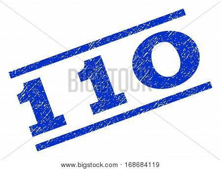 110 watermark stamp. Text caption between parallel lines with grunge design style. Rotated rubber seal stamp with dirty texture. Vector blue ink imprint on a white background.