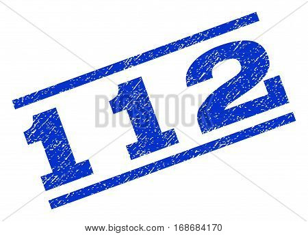 112 watermark stamp. Text caption between parallel lines with grunge design style. Rotated rubber seal stamp with scratched texture. Vector blue ink imprint on a white background.