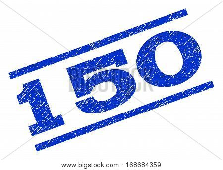 150 watermark stamp. Text caption between parallel lines with grunge design style. Rotated rubber seal stamp with dust texture. Vector blue ink imprint on a white background.