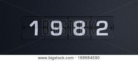3d rendering flip board year 1982 background