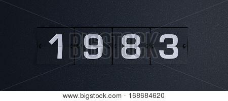 3d rendering flip board year 1983 background