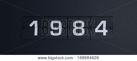 3d rendering flip board year 1984 background