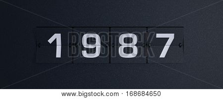 3d rendering flip board year 1987 background