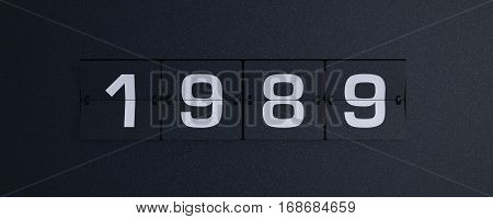 3d rendering flip board year 1989 background
