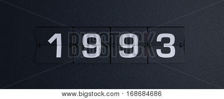 3d rendering flip board year 1993 background