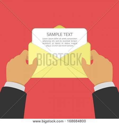 Businessman opening an envelope with letter. Hand pulls from Envelope a sheet of paper with sample text. Mail, message concept. Sending notification or invitation. Vector illustration in flat style.