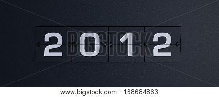 3d rendering flip board year 2012 background