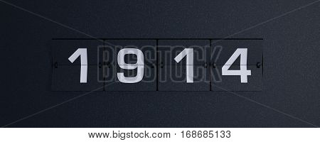 3d rendering flip board year 1914 background