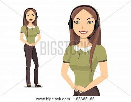 Female customer service representative with headset. Portrait of asian woman.