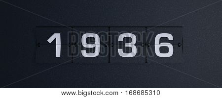 3d rendering flip board year 1936 background