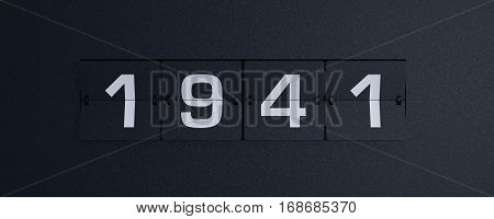 3d rendering flip board year 1941 background