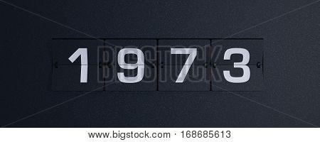 3d rendering flip board year 1973 background