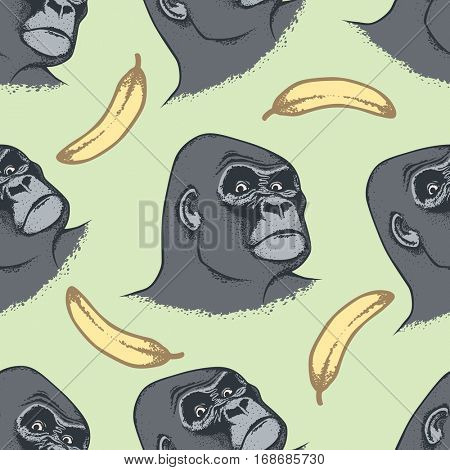 Vector Monkey Concept. Seamless Pattern of Hand draw head of african gorilla. The most dangerous ape and biggest monkey