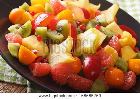 Natural Food: Salad Of Fresh Exotic Tropical Fruits Macro On A Plate. Horizontal