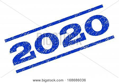 2020 watermark stamp. Text tag between parallel lines with grunge design style. Rotated rubber seal stamp with dust texture. Vector blue ink imprint on a white background.