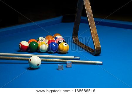 Photo Fragment Of The Blue Pool Billiard Game With Cue. Pool Billiard Game. Billiard Sport Concept.p