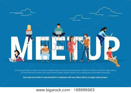 Meetup concept illustration of young people attending the professional workshop and brainstorming for new brand or concept. Flat design of guys and women sitting on the big letters