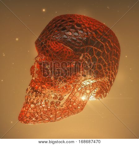 red glossy demon skull with veins and cracks. Horror 3d render concept illustration