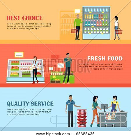 People in supermarket interior design. Best choice. Fresh food. Quality service. People shopping, marketing people, customer in mall, retail store illustration. Website design template in flat