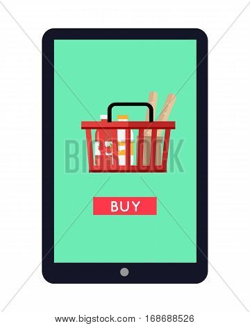 Tablet computer with full shopping basket on screen. Buy now icon. Shopping basket with products. Concept for mobile marketing and online shopping. Online payment. Vector illustration in flat.