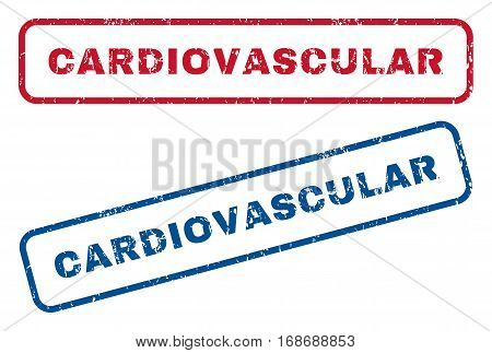 Cardiovascular text rubber seal stamp watermarks. Vector style is blue and red ink caption inside rounded rectangular shape. Grunge design and unclean texture. Blue and red stickers.