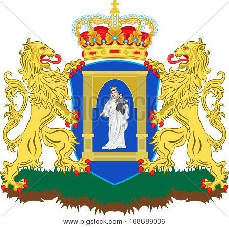 Coat of arms of Assen is a municipality and a city in the northeastern Netherlands and is the capital of the province of Drenthe. Vector illustration