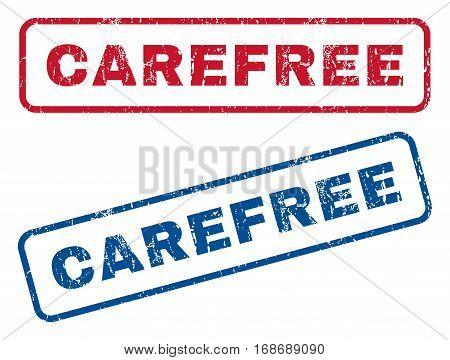 Carefree text rubber seal stamp watermarks. Vector style is blue and red ink tag inside rounded rectangular banner. Grunge design and scratched texture. Blue and red stickers.