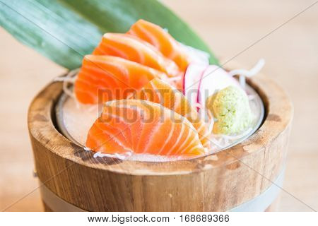 Raw fresh orange salmon sashimi Japanese food style