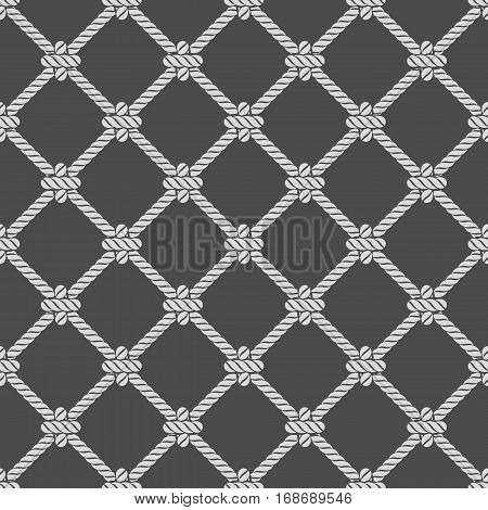 Seamless rope knot pattern. Marine Rope mesh on dark background. Ocean wallpaper concept. Vector illustration in modern, flat style. Endless navy illustration with rope ornament.