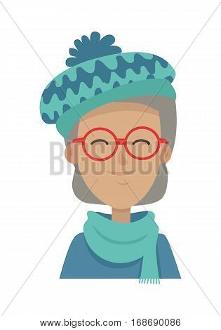 Hat with pompon. Smiling old woman with grey hair in blue-green hat, long scarf, sweater. Contemporary hat with waves. Female wearing round red glasses. White background. Flat design. Vector illustration