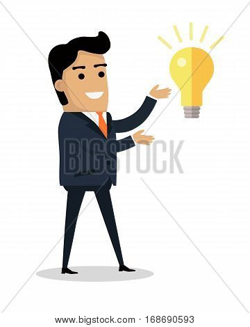 Man with bulb lamp isolated. Happy boy finds solution for problem. Successful idea banner. Satisfied male with results brainstorm isolated on white. Handsome man solved trouble. Vector illustration
