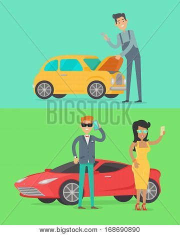 Man repair car. Rich people near luxury red coupe car. Car service illustration in flat style design. Auto mechanic, business man and woman. Car service. Repair car test. Machinery engineer. Vector