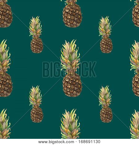Pineapple ananas with colorful leaves on dark green background. Seamless watercolor pattern. Could be used for textile or in design