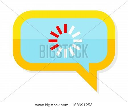 Loading process icon in chat speech bubble. Web bubble isolated on white. Interface dialog, talk button, application speech balloon. App icon flat style design. Process of writing message sign. Vector