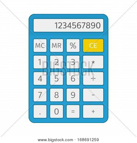 Calculator icon in flat style. Electronic calculator isolated on white background. Flat design vector business counting device mock up for application interface and web design.