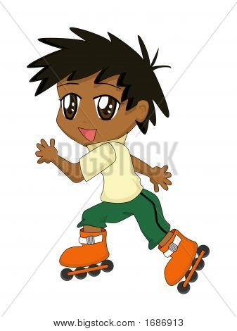 Cute Cartoon Boy Roller-Blading