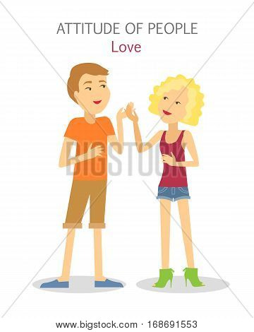 Attitude of people. Boy and girl in love. Sanguine temperament people. Happy couple, first engagement, passion, friendship, relationships. Talkative cheerful teenagers. Scientific illustration. Vector