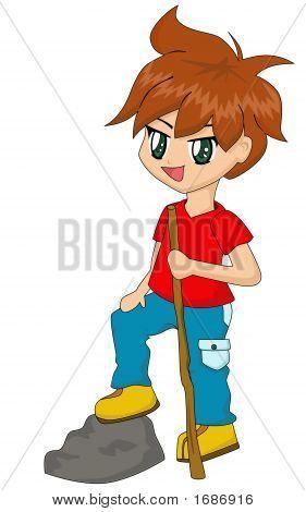 Cute Cartoon Boy Hiking