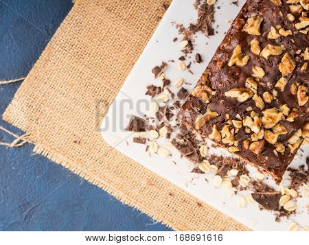 Chocolate home made cake with rolled oats, walnut, banana. Healthy Diet baking treat